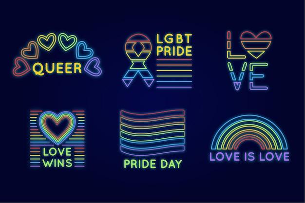 Conjunto de letreros de neón del día del orgullo