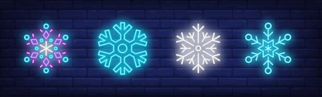 Conjunto de letreros de nevadas