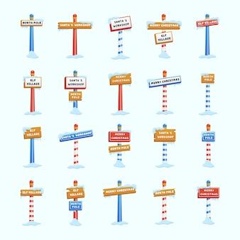Conjunto de letreros del polo norte o temática navideña e invernal. icono de navidad signo del polo norte con nieve y hielo.