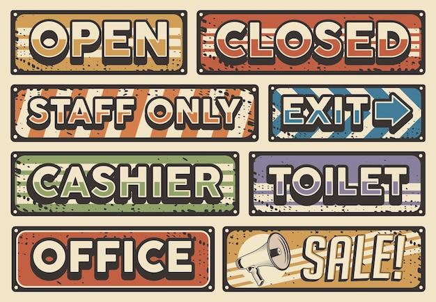 Conjunto de letreros de tablero de tienda vintage retro