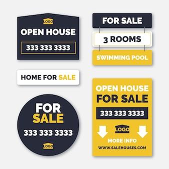 Conjunto de letreros de venta inmobiliaria