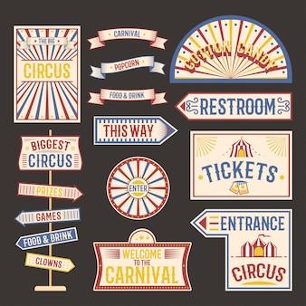 Conjunto de letreros vintage de circo
