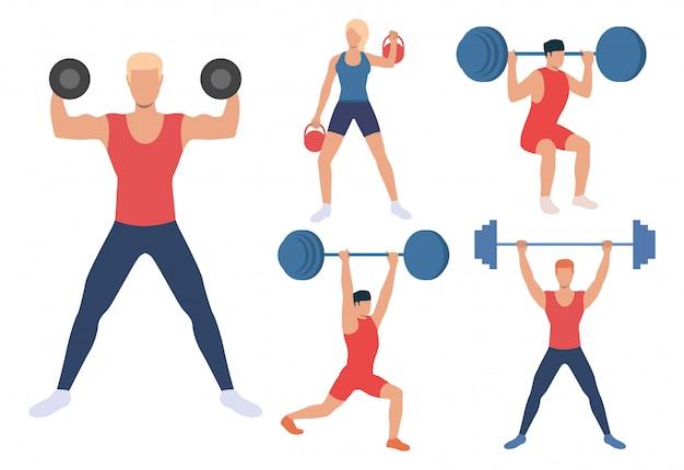 Conjunto de levantadores de pesas masculinos y femeninos.