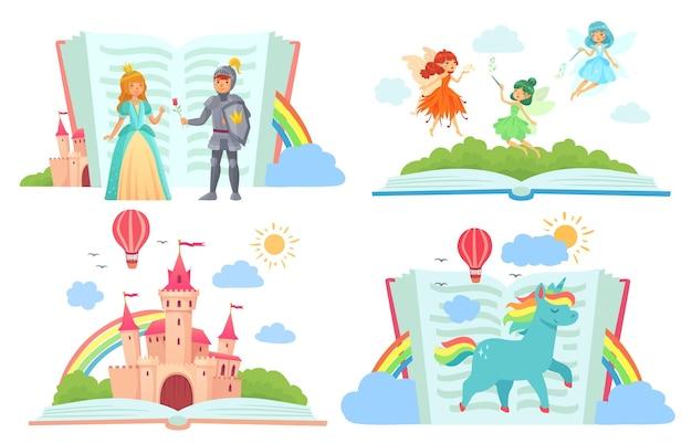 Conjunto de libros abiertos con personajes de cuentos de hadas.