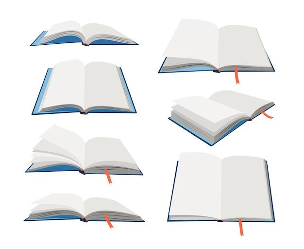 Conjunto de libros abiertos vacíos