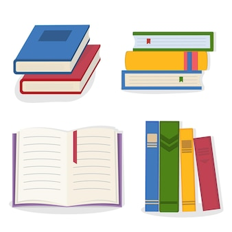 Un conjunto de libros coloridos aislados.