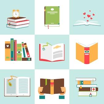 Conjunto de libros en diseño plano. literatura y biblioteca, educación y ciencia, conocimiento y estudio