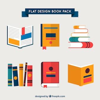 Conjunto de libros en diseño plano