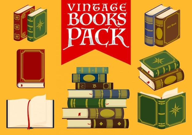 Conjunto de libros vintage ilustración vectorial de stock