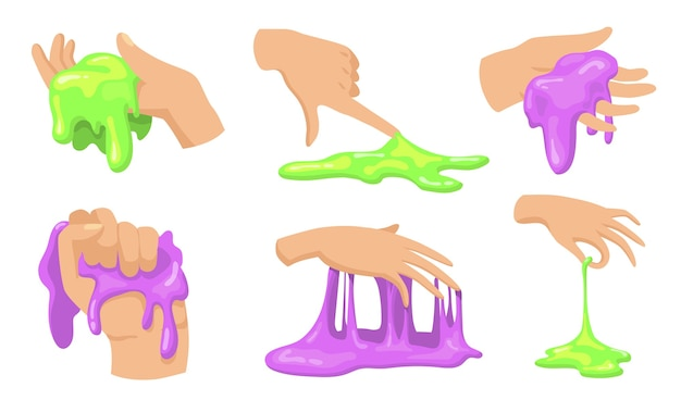 Conjunto de limo colorido. manos humanas tocando, sosteniendo y tomando divertidos juguetes viscosos caseros para niños.
