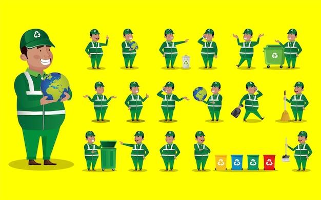 Conjunto de limpiador de calles con diferentes poses.