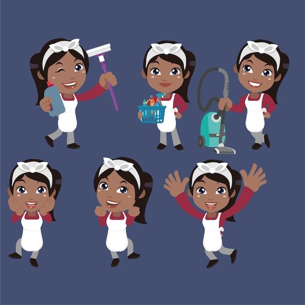 Conjunto de limpiador con diferentes poses.