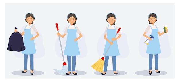 Conjunto de limpiador femenino en varias acciones, barrer, trapear, quitar el polvo, bolsa de basura. ilustración de personaje de dibujos animados 2d de vector plano.