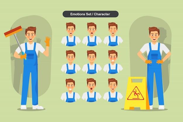 Conjunto de limpieza hombre personal diseño de personajes. presentación en diversas acciones con emociones, correr, pararse y caminar.