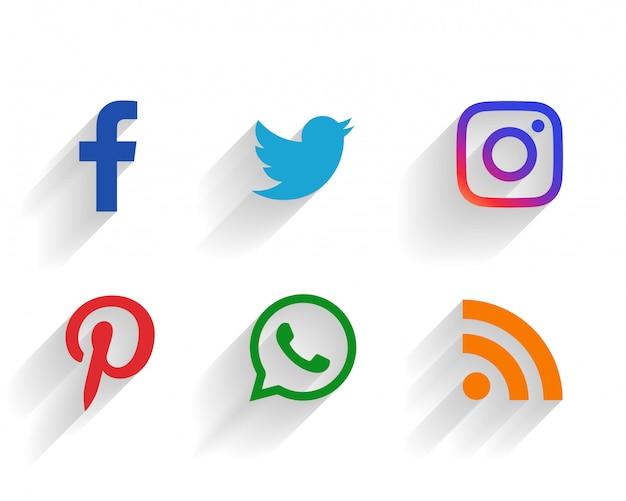 Conjunto limpio de logotipos de redes sociales