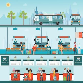 Conjunto de limusina de autobús con personas que compran boleto en el mostrador de servicio.
