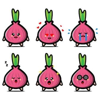 Conjunto de linda cebolla morada con personaje de dibujos animados de expresión