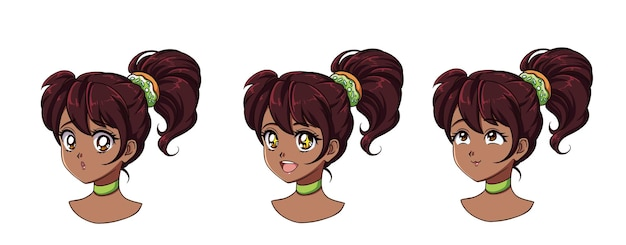 Un conjunto de linda chica anime con diferentes expresiones. cabello oscuro, grandes ojos negros.