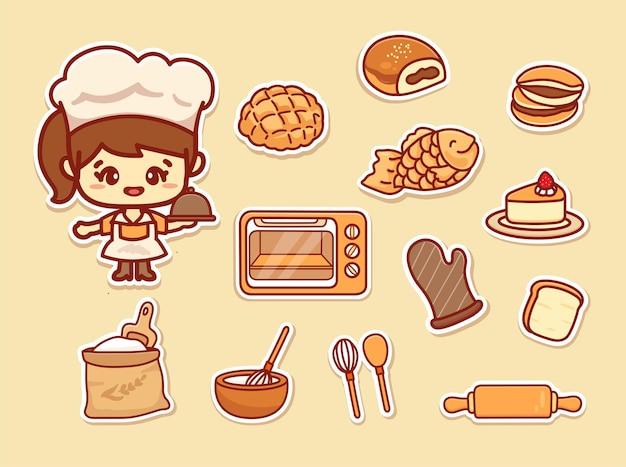 Conjunto de linda chica chef con varios utensilios de cocina, comida callejera y pastelería japonesa. pegatina de dibujos animados kawaii