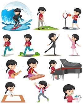 Conjunto de una linda chica realizando diferentes actividades.