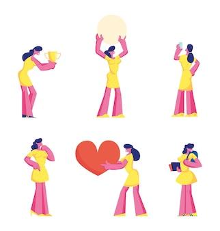 Conjunto de linda chica en vestido amarillo sosteniendo gran corazón, celebrar la victoria con trofeo, estudiante con mochila y libros, usando smartphone aislado sobre fondo blanco.