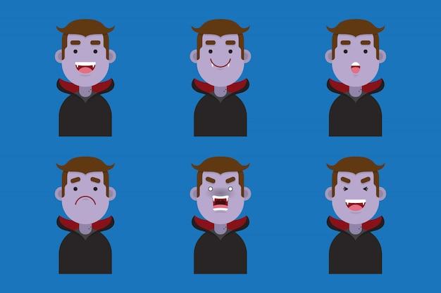 Conjunto de linda colección de avatar de drácula