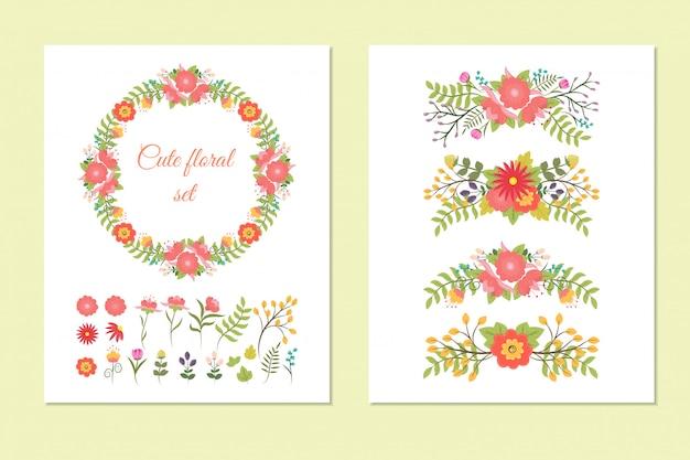 Conjunto de linda corona, bordes y flores.