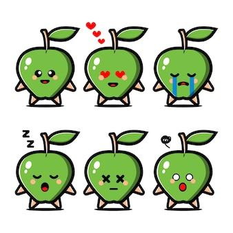 Conjunto de linda manzana verde con personaje de dibujos animados de expresión