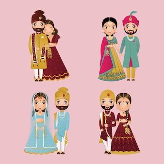 Conjunto de linda pareja en vestido tradicional indio personajes de dibujos animados novia y el novio. tarjeta de invitaciones de boda.