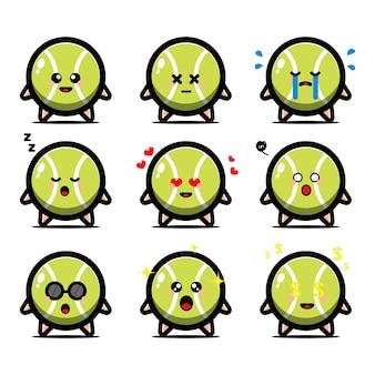 Conjunto de linda pelota de tenis con personaje de dibujos animados de expresión