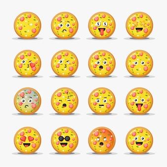 Conjunto de linda pizza con emoticonos
