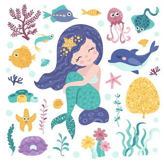 Conjunto de linda sirena, algas y habitantes marinos.