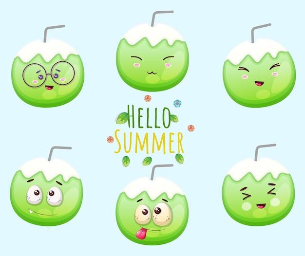 Conjunto de linda tarjeta de felicitación de coco y hola verano