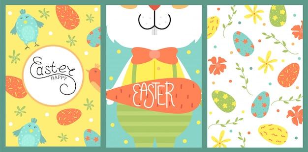 Conjunto de linda tarjeta de pascua. huevos de pascua, vacaciones de primavera. tarjeta de felicitación