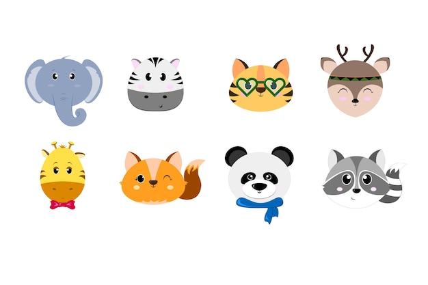 Conjunto de lindas cabezas de animales simples, diseño plano