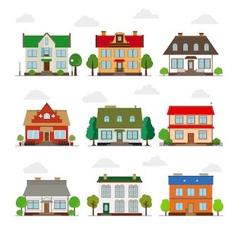 Conjunto de lindas casas de estilo plano. edificio y hogar, arquitectura y propiedad