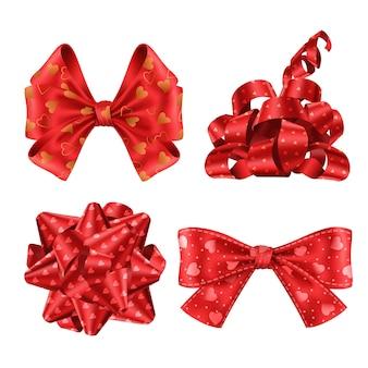 Conjunto de lindas cintas rojas y arcos vista superior y lateral