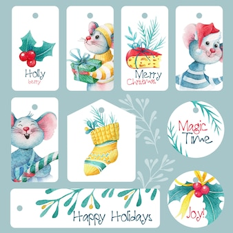 Conjunto de lindas etiquetas navideñas con ratones y decoraciones