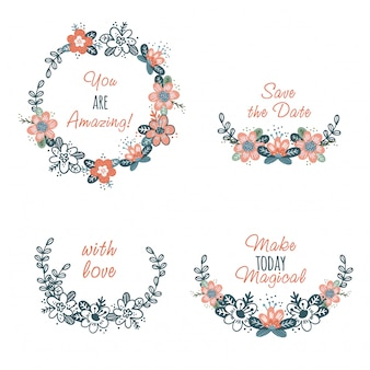 Conjunto de lindas flores abstractas guirnaldas y texto