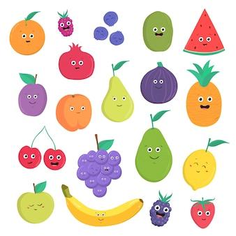 Conjunto de lindas frutas y bayas con sonrisas. colección de comida vegetariana brillante sobre fondo blanco. ilustración colorida en estilo de dibujos animados.