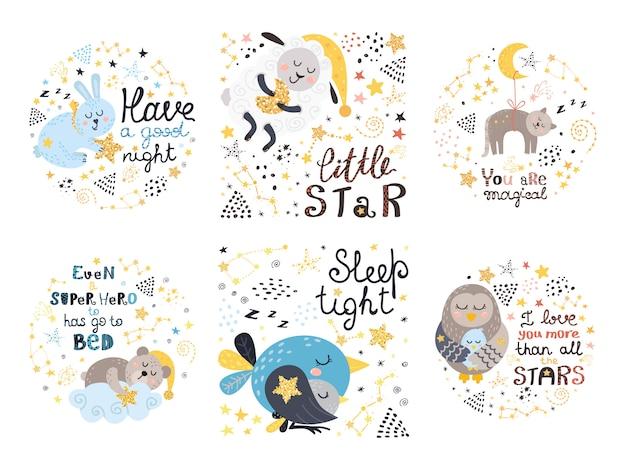 Conjunto de lindas ilustraciones para bebés.