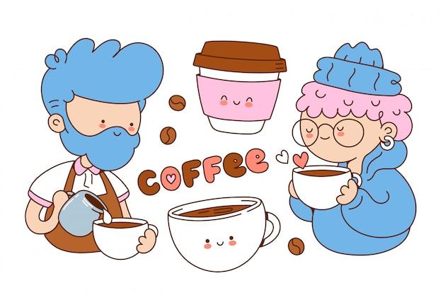 Conjunto de lindas ilustraciones de café. ilustración del personaje de dibujos animados. aislado en el fondo blanco