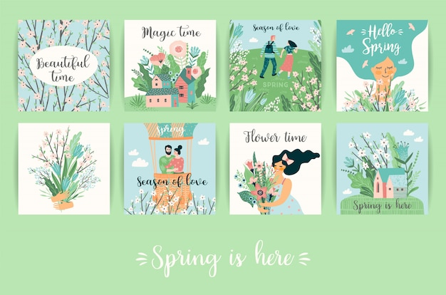 Conjunto de lindas ilustraciones con personas y naturaleza de primavera.