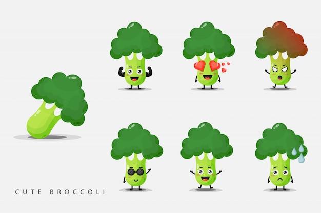 Conjunto de lindas mascotas vegetales de brócoli