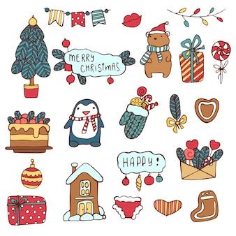 Conjunto de lindas pegatinas para navidad