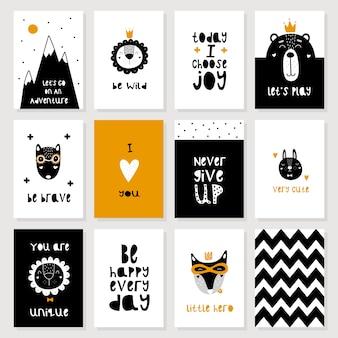 Conjunto de lindas postales escandinavas de animales.