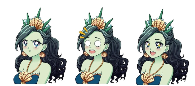 Un conjunto de lindas princesas marinas de anime con diferentes expresiones. cabello verde, grandes ojos azules, corona de concha.