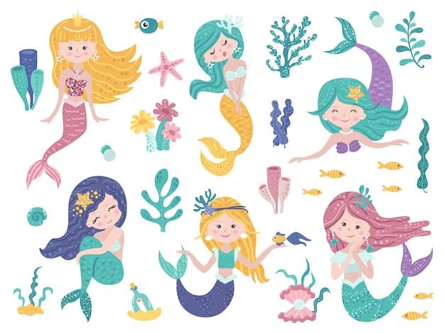 Conjunto de lindas sirenas y naturaleza marina.