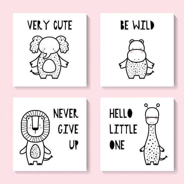 Un conjunto de lindas tarjetas con animales. jirafa, elefante, hipopótamo, león