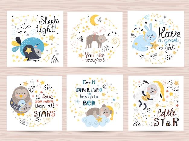 Conjunto de lindas tarjetas para bebés.
